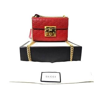 Gucci Red Padlock Small Signature Shoulder Bag