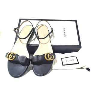 Gucci Marmont Leather GG Block-Heel Sandals