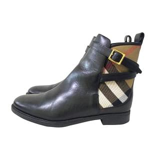 Burberry Richardson Bridle House Nova Check Flat Ankle Boots