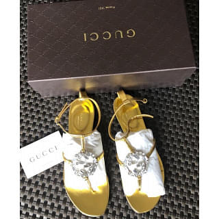 Gucci Crystal Interlocking G Flat Sandal