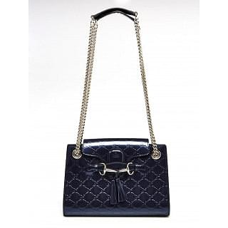 Gucci Black Guccissima Small Emily Chain Shoulder Bag