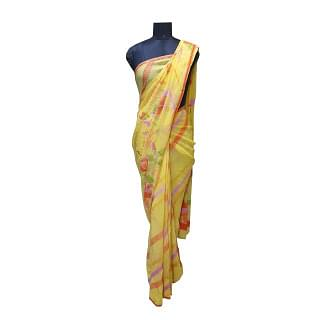 Satyapaul Yellow Floral Saree