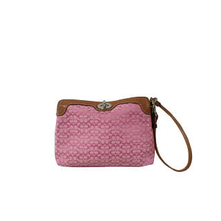Coach Signature Turnlock Capacity Pink Wristlet