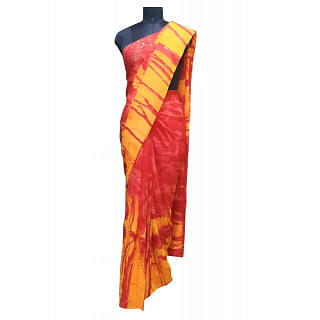 Satyapaul Red/ Yellow Sequin Saree with unstitched blouse