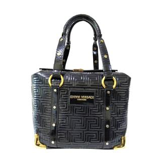 Versace Gianni Black Patent Leather Handbag