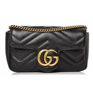 Gucci Matelasse Super Mini GG Marmont Black Bag