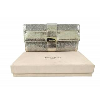 Jimmy Choo Metallic Gold/Silver Textured Leather and Fabric Clutch