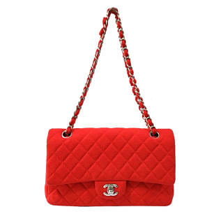Chanel Classic Red Jersey Silver Metal Shoulder Bag