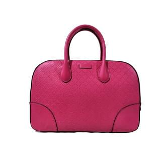 Gucci Pink Diamante Textured Leather Top Handle Satchel