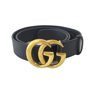 Gucci GG Marmont Black Leather Belt