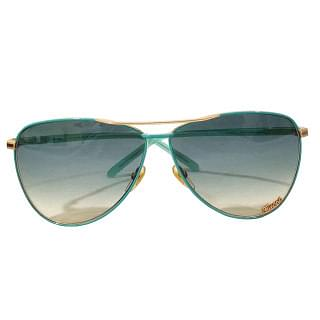 Gucci Turquoise Metal Frame Signature Aviator Sunglasses