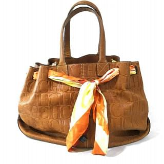 CAROLINA HERRERA Monogram Canvas Leather Scarf Tote