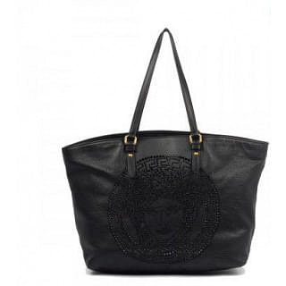 Versace Black Medusa Leather Tote