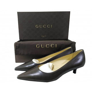 Gucci Pointed-toe Kitten Heel Leather Pumps