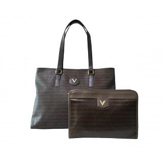 Mario Valentino Large PVC/Leather Tote and Wristlet Set