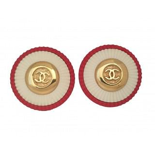 Chanel Vintage CC Logo Red and White Round Earrings
