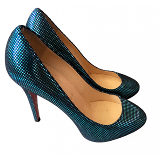 Christian Louboutin Turquoise Suede Square Metal Declic 120 Pumps