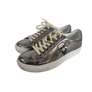 Karl Lagerfeld gold Metallic Leather Sneakers