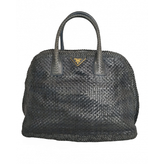 Prada Black Braided Leather Satchel