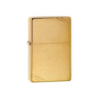 ZIPPO USA Brushed Brass Vintage with Slashes Lighter