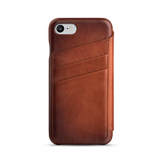 PENNLINE LEATHER Flip cover with card slots for apple iPhone 7 -  Brown