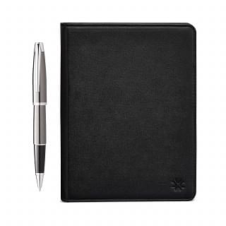 PENNLINE Padfolio With Carina Gloss Gun Metal Roller Ball