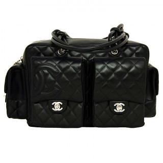 CHANEL Black Quilted Leather Cambon Reporter Bag With black CC Logo | Luxepolis.com
