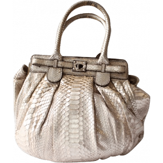 Zagliani Pewter Python Puffy Satchel