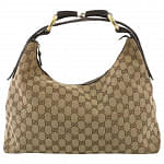 Gucci Monogram Horsebit Hobo Bag