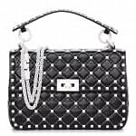 Valentino Rockstud Spike Medium Shoulder Bag- Black