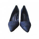 Charles and Kieth Satin & Stone Embellished Dark Blue Pumps