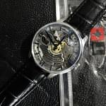 Tissot Chemin Des Tourelles Squelette Skeleton Dial Black Leather Mens Watch