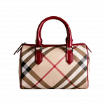 BURBERRY Nova Check Chester Bowling Bag Raspberry Sorbet