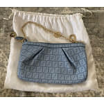 Fendi Zucchino Coated Canvas Baguette Chain Shoulder Bag