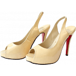 "Christian Louboutin ""Private Number"" Nude Peep-Toe Sling Backs"