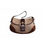 Coach Signature Shoulder Bag with Suede Trimming