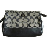 Coach Legacy Large Wristlet In Signature Fabric Black