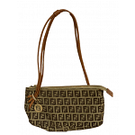 Fendi Zucchino Canvas And Leather Baguette