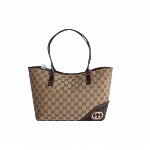 Gucci Beige/Ebony GG Canvas Britt Medium Tote Bag