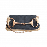 Gucci Horsebit Black Beige Stripe Flap Bag