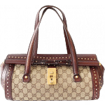 Gucci Bamboo Monogram Leather Studded Shoulder Bag