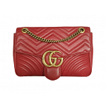 Gucci GG Marmont Matelasse Hibiscus Red Leather Shoulder Bag