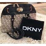 DKNY Black and Cream Tote Bag