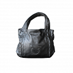Salvatore Ferragamo Silver Crinkle Patent Leather Woven Strap Tote Bag