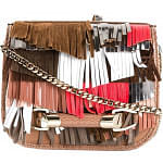 Jimmy Choo Zadie Satin Leather Mixed Fringes Clutch Brown Cross Body Bag
