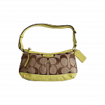 Coach Signature Print Canvas and Lime Green Shoulder Bag