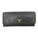 Prada Black Saffiano Leather Continental Flap Wallet