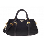 Prada Convertible Belted Satchel Leather and Tessuto