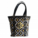 Tory Burch Patent Leather Blue & Yellow Betty Shopper
