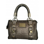Gianni Versace Couture Leather Greca Quilt Doctor Handbag